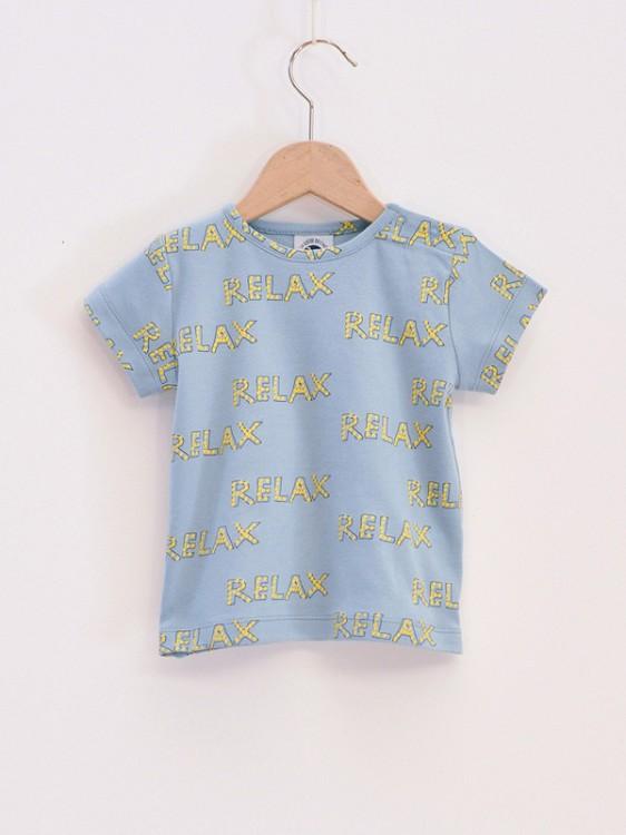 new style 699ec 088d3 Puffete T-shirt celeste con scritte Relax | Moda Bimbi-T ...