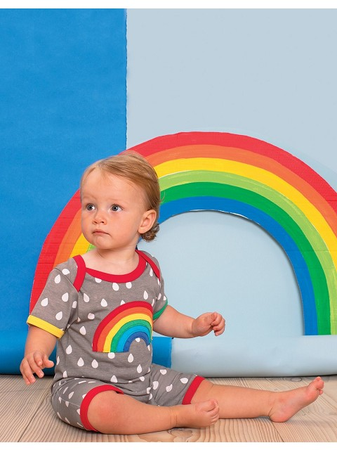 Organic Raindrop with Rainbow Applique Romper