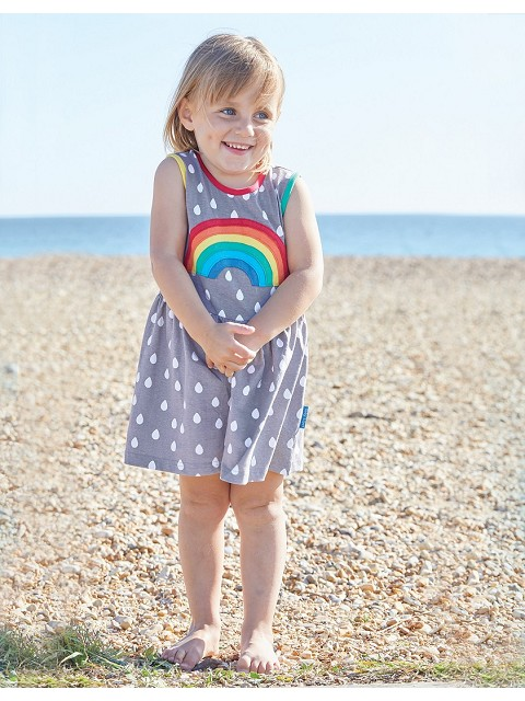 Organic Raindrop with Rainbow Applique Summer Dress