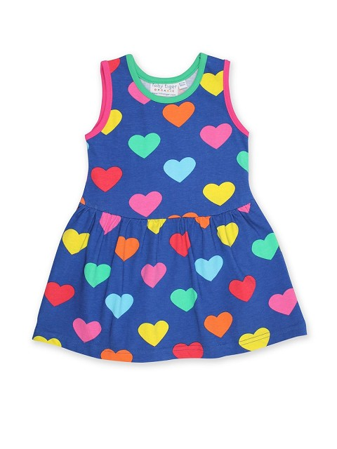 Organic Multi Heart Print Summer Dress