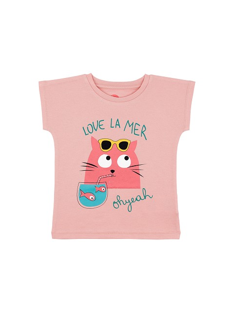 T-shirt rosa con gatto