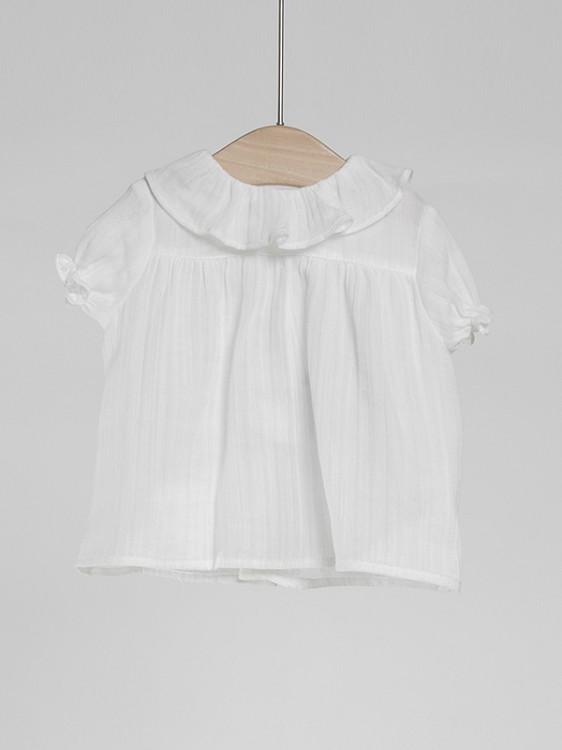 a basso prezzo 141dc 6de9f Puffete Blusa in cotone bianco, colletto e maniche a ...