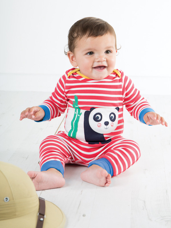 scarpe sportive 1126a d425b Puffete Tutina o pigiama a righe con Panda   Moda Bimbi ...