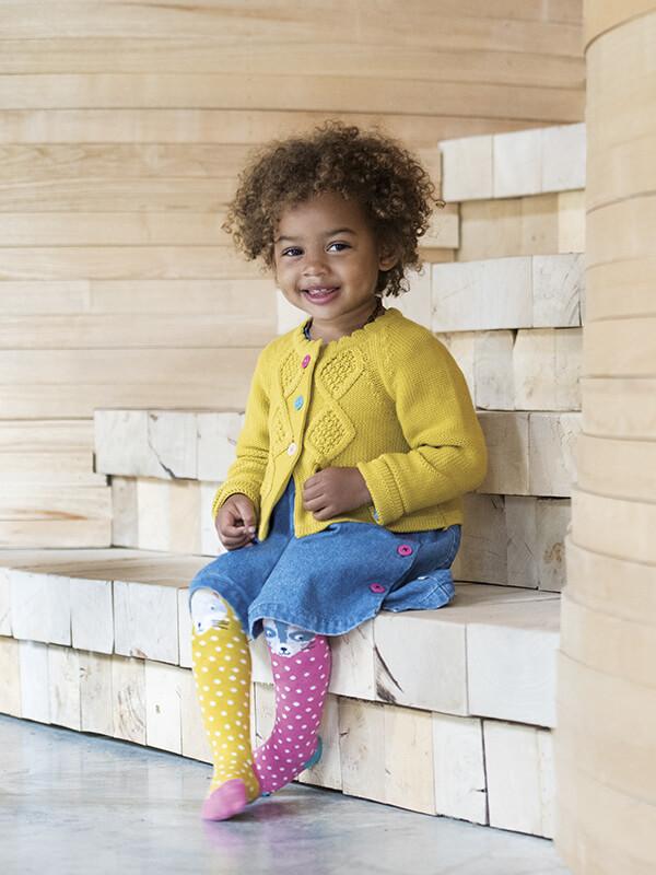 newest collection a137e bcd80 Puffete Cardigan in maglia color senape con bottoni colorati ...