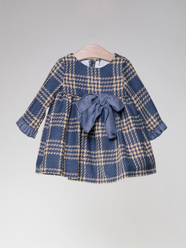 best website 88e14 3eb04 Puffete Vestito in tessuto scozzese blu e giallo fiocco blu ...