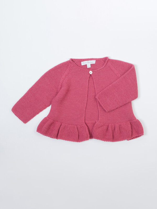 half off 0b61d afd38 Puffete Cardigan in tricot variante rosa e variante fragola ...