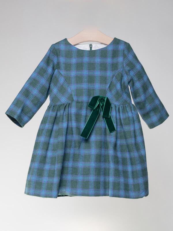 watch 1bfb6 ea102 Puffete Vestito a quadri blu e verdi con fiocco in velluto ...